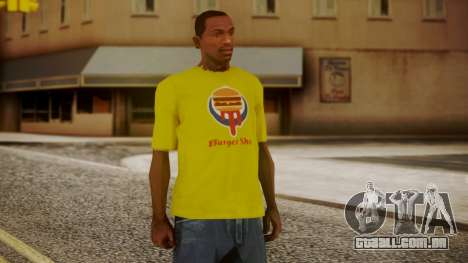 Burger Shot T-shirt Yellow para GTA San Andreas