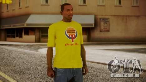 Burger Shot T-shirt Yellow para GTA San Andreas
