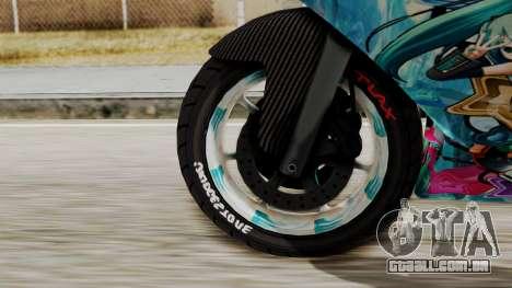 Bati Motorcycle Hatsune Miku Itasha para GTA San Andreas traseira esquerda vista