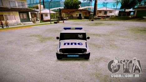 UAZ-caçador de PPP Serviço para GTA San Andreas vista interior