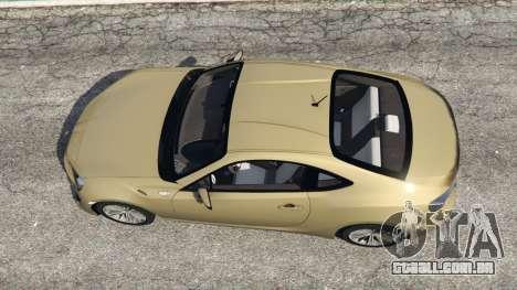 GTA 5 Toyota GT-86 v1.4 voltar vista