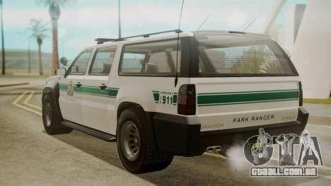 GTA 5 Declasse Granger Park Ranger para GTA San Andreas esquerda vista