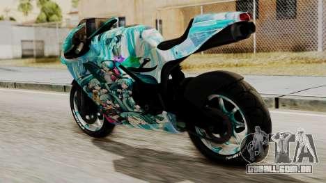 Bati Motorcycle Hatsune Miku Itasha para GTA San Andreas esquerda vista