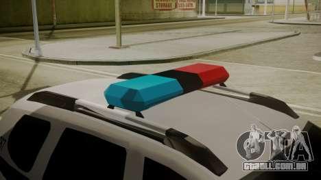 Renault Duster Patrulla Policia Colombiana para GTA San Andreas vista traseira