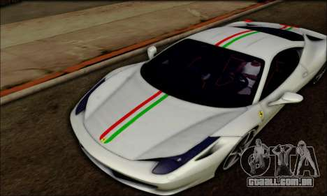 Ferrari 458 Italia 2010 para GTA San Andreas esquerda vista