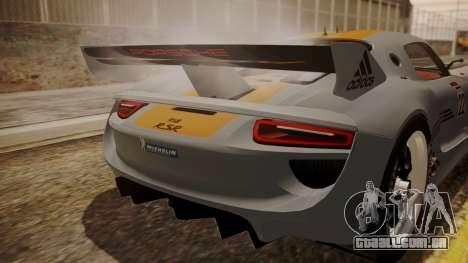 Porsche 918 RSR para GTA San Andreas vista traseira