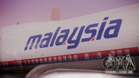 Boeing 747-200 Malaysia Airlines para GTA San Andreas vista traseira