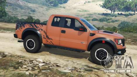 GTA 5 Ford F-150 SVT Raptor 2012 v2.0 vista lateral esquerda