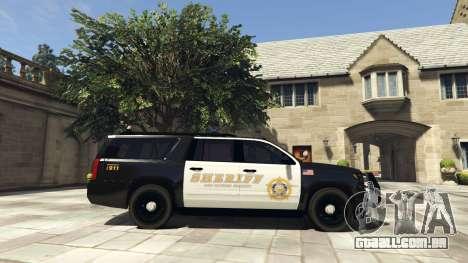 GTA 5 Chevrolet Suburban Sheriff 2015 vista lateral esquerda