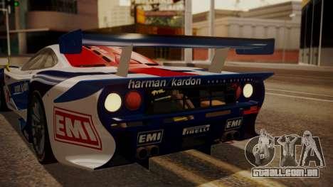 McLaren F1 GTR 1998 HarmanKardon para GTA San Andreas vista superior
