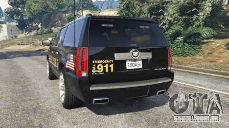 GTA 5 Cadillac Escalade ESV 2012 Police traseira vista lateral esquerda