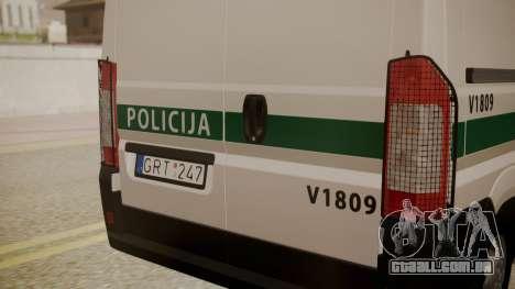 Fiat Ducato Lithuanian Police para GTA San Andreas vista direita