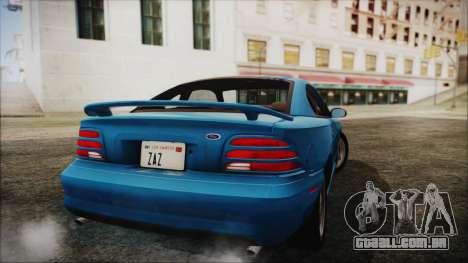 Ford Mustang GT 1993 v1.1 para GTA San Andreas esquerda vista