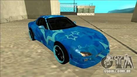 Mazda RX-7 Drift Blue Star para GTA San Andreas esquerda vista
