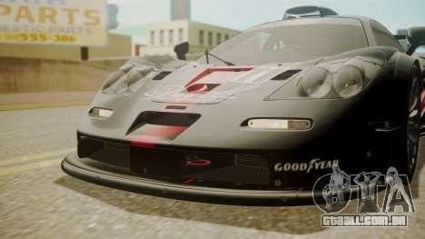McLaren F1 GTR 1998 Day Off para GTA San Andreas vista interior