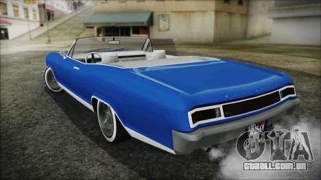 GTA 5 Albany Buccaneer Hydra Version para GTA San Andreas traseira esquerda vista