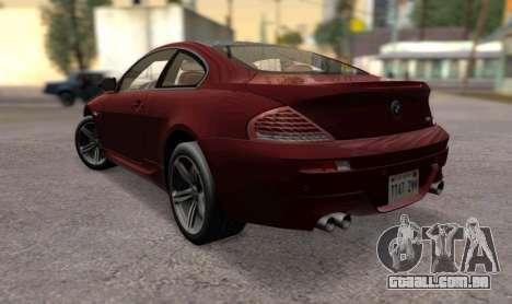 BMW M6 E63 para GTA San Andreas esquerda vista