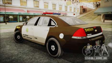 Chevrolet Impala SASD Sheriff Department para GTA San Andreas esquerda vista