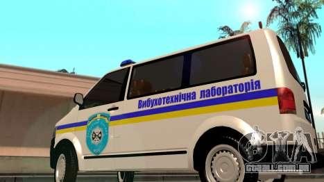 Volkswagen Transporter Campo Minado Ucrânia para GTA San Andreas traseira esquerda vista