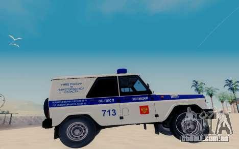 UAZ Caçador SPSP para GTA San Andreas esquerda vista
