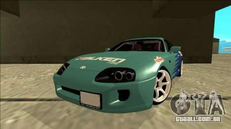 Toyota Supra Falken Drift para GTA San Andreas traseira esquerda vista