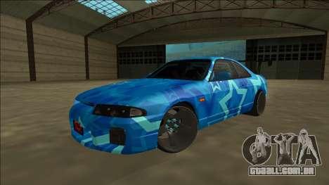 Nissan Skyline R33 Drift Blue Star para GTA San Andreas vista traseira