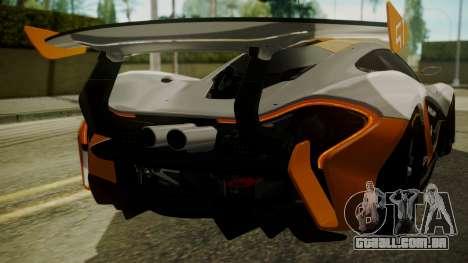 McLaren P1 GTR 2015 para vista lateral GTA San Andreas