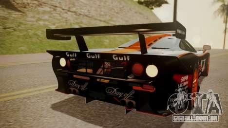 McLaren F1 GTR 1998 Gulf Team para GTA San Andreas vista superior