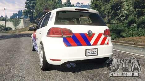 GTA 5 Volkswagen Golf Mk6 Dutch Police traseira vista lateral esquerda