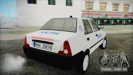 Dacia Solenza Politia para GTA San Andreas esquerda vista