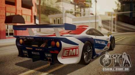 McLaren F1 GTR 1998 HarmanKardon para GTA San Andreas esquerda vista