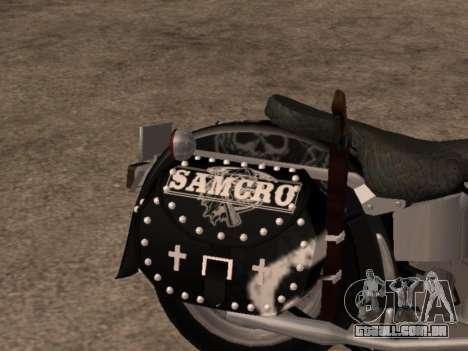 Harley Davidson Fat Boy Sons Of Anarchy para GTA San Andreas vista direita