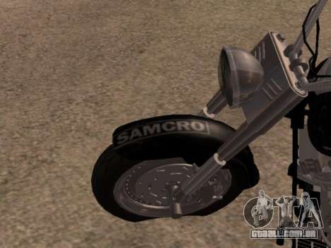 Harley Davidson Fat Boy Sons Of Anarchy para GTA San Andreas vista traseira