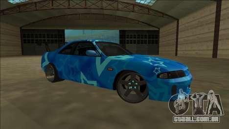 Nissan Skyline R33 Drift Blue Star para GTA San Andreas vista interior