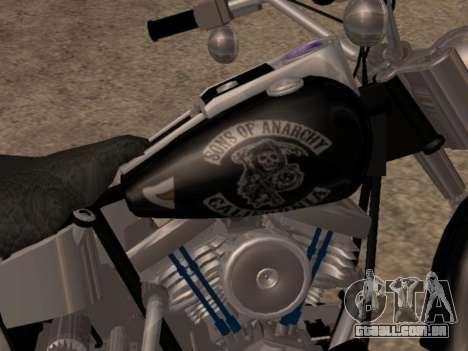 Harley Davidson Fat Boy Sons Of Anarchy para GTA San Andreas traseira esquerda vista
