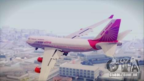 Boeing 747-437 Air India Tanjore Old Skin para GTA San Andreas esquerda vista