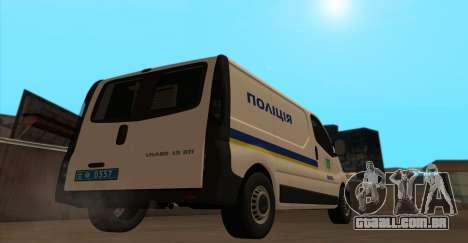 Opel Vivaro Polícia Da Ucrânia para GTA San Andreas traseira esquerda vista