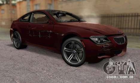 BMW M6 E63 para GTA San Andreas vista traseira