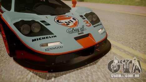 McLaren F1 GTR 1998 Gulf Team para GTA San Andreas vista interior