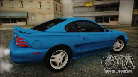 Ford Mustang GT 1993 v1.1 para GTA San Andreas traseira esquerda vista