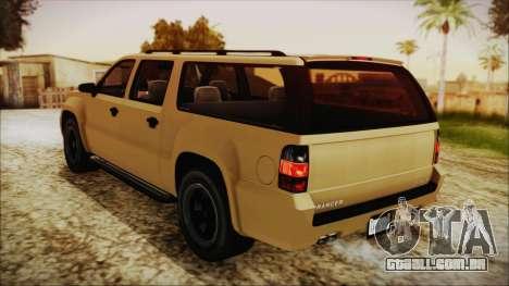GTA 5 Declasse Granger SA Style para GTA San Andreas traseira esquerda vista
