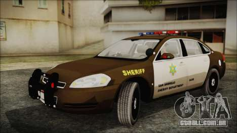 Chevrolet Impala SASD Sheriff Department para GTA San Andreas traseira esquerda vista