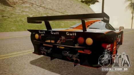 McLaren F1 GTR 1998 Gulf Team para vista lateral GTA San Andreas