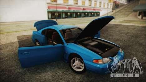 Ford Mustang GT 1993 v1.1 para GTA San Andreas vista traseira