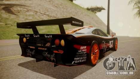 McLaren F1 GTR 1998 Gulf Team para GTA San Andreas esquerda vista