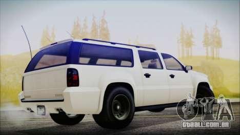 GTA 5 Declasse Granger FIB SUV para GTA San Andreas traseira esquerda vista