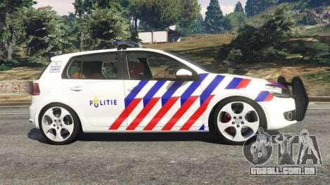 GTA 5 Volkswagen Golf Mk6 Dutch Police vista lateral esquerda