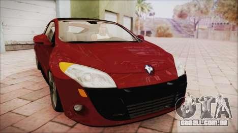 Renault Megane 3 para GTA San Andreas traseira esquerda vista