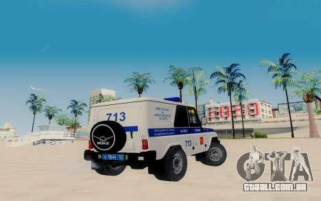 UAZ Caçador SPSP para GTA San Andreas traseira esquerda vista