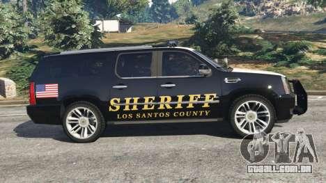 GTA 5 Cadillac Escalade ESV 2012 Police vista lateral esquerda